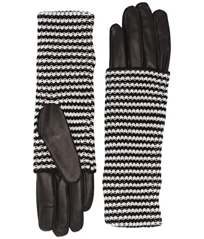 AllSaints Stripe Knit Cuff Leather Gloves (Black) Extreme Cold Weather Gloves