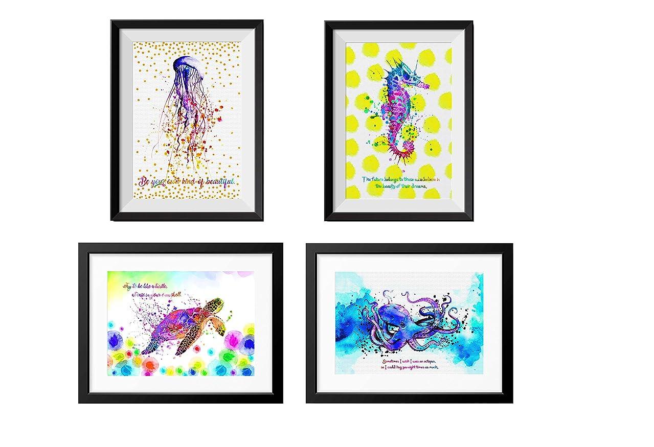 ジレンマ手綱郵便屋さんuhomate4個Sea AnimalsピンクJellyfish art-sea Turtle decor-pink Octopus art-pinkタツノオトシゴ装飾抽象アートホームキャンバス壁アート記念ギフトベビーギフト壁装飾バスルーム部屋m001 11X14 inch