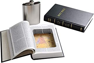 Bible Book Safe w/ 8oz Hidden Flask - Funny Gift - Genuine Bible with Real Pages - Secret Hollow Diversion Storage Stash - Preacher Atheist Priest Pastor