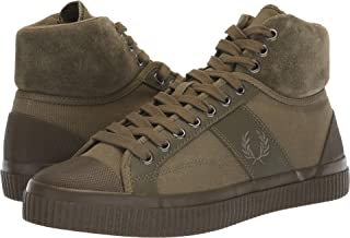 Fred Perry Men's Hughes Mid Winterised Waxed Canvas Burnt Olive 6.5 D UK D (M), Olive, Size 40 EU