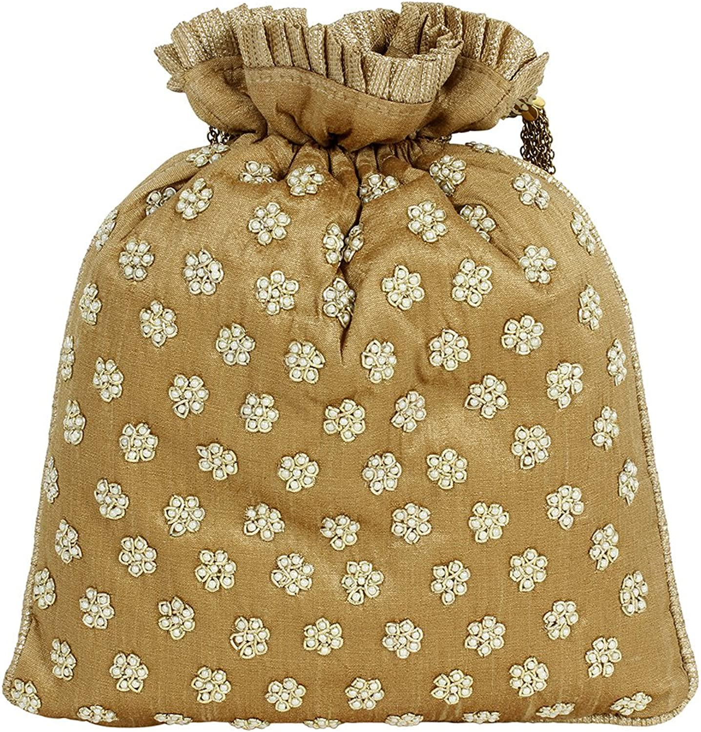 Purse Collection Beautiful Floral Embroidery gold Colour Potli Purse For Womens