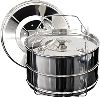 COOKEON 6 qt Stackable Insert Pans for Instant Pot - Stainless Steel Pots and Lids - Steamer Pots for Electric Pressure Cooker with PIP Recipe eBook - 2 Interchangeable Lids - Accessories Instant Pot
