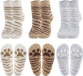 Coxeer 6 Pair Women Fuzzy Socks Winter Super Soft Warm Slipper Socks Fluffy Socks Cat Paw Socks