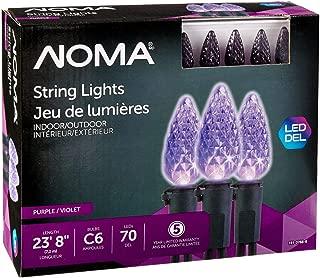 NOMA LED C6 Christmas Lights | Indoor/Outdoor String Lights | Purple Bulbs | 70 Light Set | 23.8 Foot Strand | UL Certified