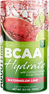 About Time Plant Based BCAA Hydrate with L-Glutamine & Electrolytes (Non-GMO, Gluten Free, Monk Fruit Extract) - Watermelo...