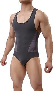 TESOON Men's Sport Bodysuit Mesh Jumpsuits Leotard Wrestling Singlet