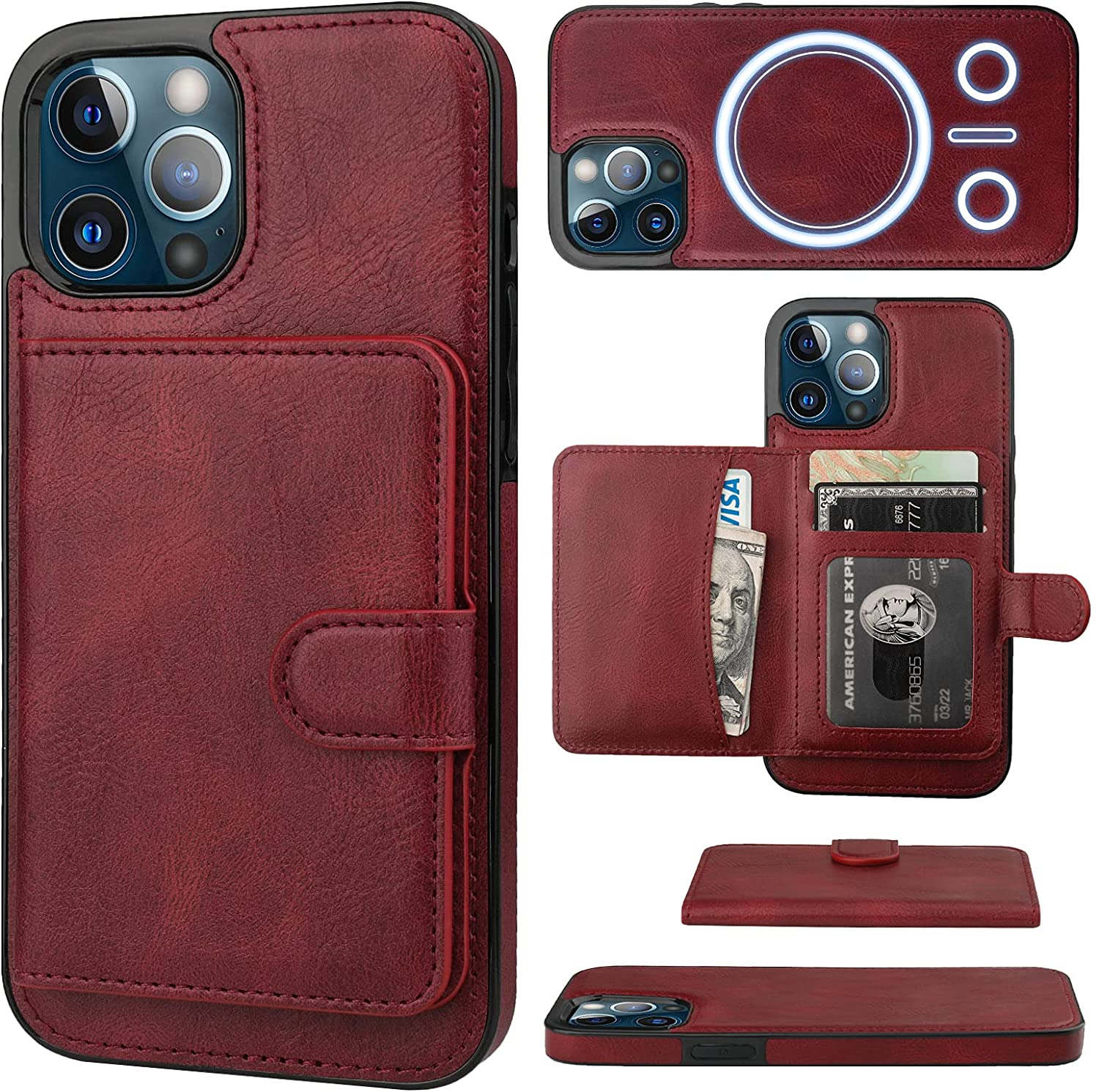 Bocasal Wallet Case for iPhone 12 Pro Max Compatible with MagSafe Magnetic RFID Blocking Detachable Premium PU Leather Flip Case with Card Slots Holder Kickstand Wireless Charging 6.7 Inch (Wine Red)