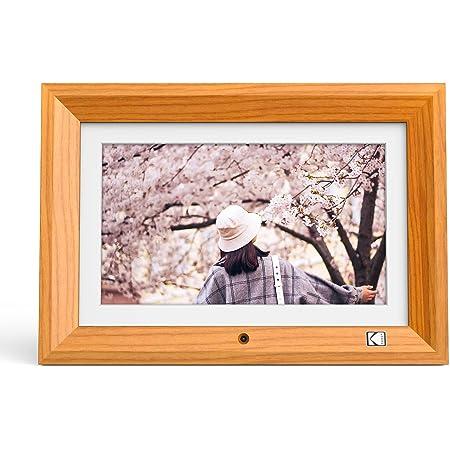 KODAK デジタルフォトフレーム 高鮮明な画質 写真/動画/音楽再生 リモコン操作 高級天然木製 壁掛け可能 SDカード/USBメモリに対応 プレゼントに適用(10インチ,木目)