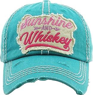 KBETHOS Trading Women's Sunshine & Whiskey Vintage Baseball Hat Cap (Dark Turquoise)