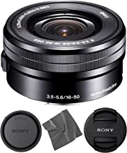 Sony SELP1650 16-50mm OSS Lens: Sony E PZ 16-50mm f/3.5-5.6 OSS Lens (Black) + AOM Pro Starter Bundle Kit Combo - International Version (1 Year AOM Warranty)