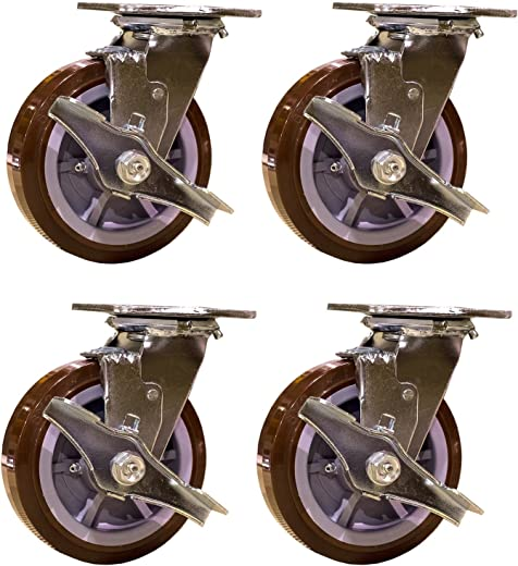 ✅Service Caster SCC-30CS620-PPUR-TLB-4 Heavy Duty Swivel Casters with Brakes, Non-Marking Polyurethane Wheel (Pack of 4) #Tools & Home Improvement Hardware