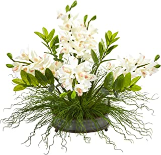 Nearly Natural 24in. Cymbidium Orchid and Zamioculcas Artificial Silk Arrangements, White