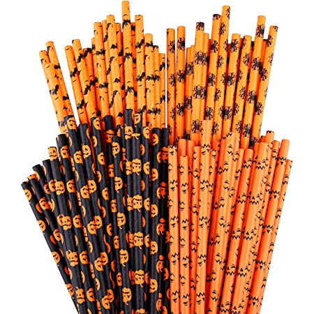for Parties Weddings Halloween Orange and Black Straws Striped Paper Straws Lollipop Sticks Crafting Showers Retro Vintage Straws