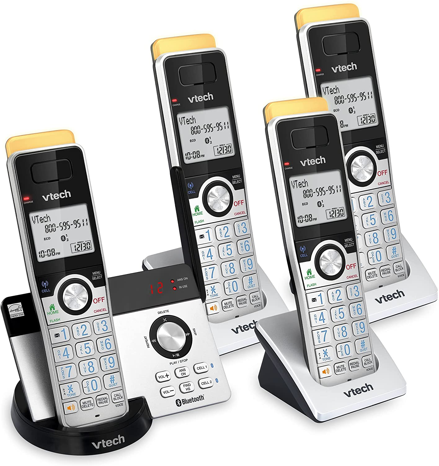 VTECH IS8121-4 Super Long Range up to 2300 Feet DECT 6.0 Bluetooth 4 Handset Cordless Phone for Home with Answering Machine, Call Blocking, Connect to Cell, Intercom and Expandable to 5 Handsets : Office Products