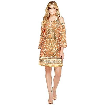 Hale Bob Sun Kissed Microfiber Jersey Cold Shoulder Dress (Orange) Women
