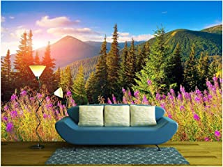 wall26 - Beautiful Autumn Landscape in The Mountains with Pink Flowers. - Removable Wall Mural | Self-Adhesive Large Wallpaper - 100x144 inches