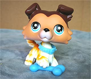 LPSOLD Old LPS Collie 58 Raised Paw Brown Blue Eyes Dog Figure with Magnet Clear Peg with Accessories Toys Figure Collection Rare Girl Boy Gift (lps Collie 58 paw up)