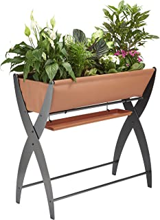DESIGN SPECIALTIES Raised Garden Bed Trough Planter - Great for Patio Balcony - Indoor/Outdoor - Elevated and FREESTANDING to Grow Flowers Vegetables OR Herbs