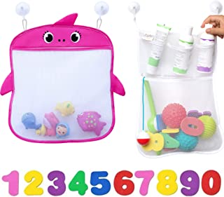 JOJOOKIDS Bath Toy Storage Set of 2 + 10 Eco-Safe Foam Numbers   Bath Toy Organizer Mesh Net Shower Caddy for Baby Bath To...