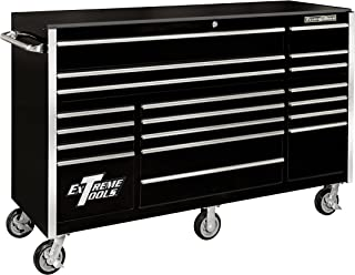 Extreme Tools RX722519RCBK Rx Series 19 Drawer Roller Cabinet with Ball Bearing Slides, 72-Inch, Black High Gloss Powder Coat Finish
