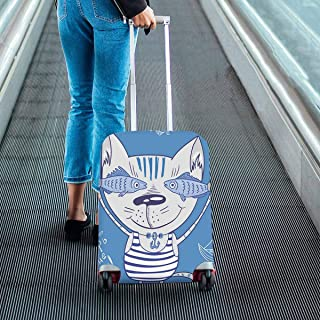 Suitcase Protectors Fit 18-28 Inch Luggage parrern with Funny Cat Print on Dust Proof Luggage Covers Blue