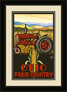 Northwest Art Mall PAL-3013 MFGDM TPC Ohio Farm Country Tractor Profile Corn Framed Wall Art by Artist Paul A. Lanquist, 1...