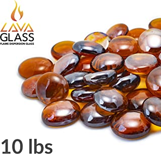 Bond Manufacturing 67986 LavaGlass Round Fire Pit Dispersion Glass, ø 0.66-0.74 in, Amber Sunset