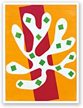 White Alga on Orange and Red Background - Henri Matisse - Fine Art Collections - 18x24 Matte Poster Print Wall Art