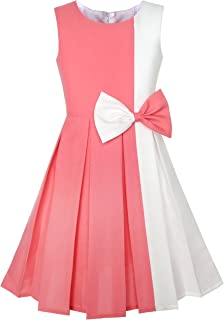 Sunny Fashion Girls Dress Color Block Contrast Bow Tie Everyday Party Size 4-14 Years