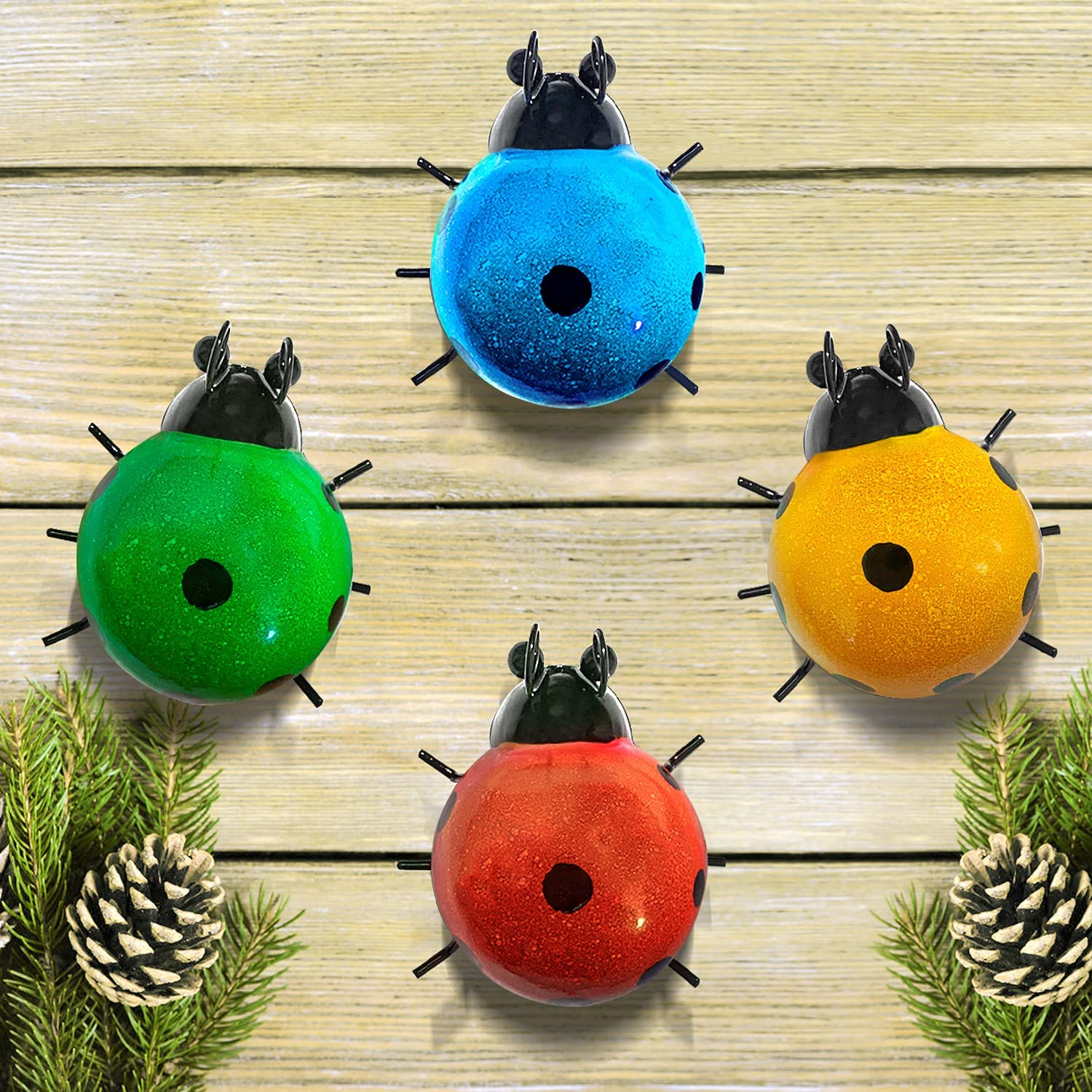 Metal Garden Art Set Of 4 Cute Lady Bugs For Your Garden, Outdoor Decorations For Patio Garden Decor For Outside, Ladybugs Outdoor Wall Sculpture For Deck Yard Art Backyard Porch Fence Gardening Gifts