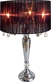 Elegant Designs LT1034-BLK Trendy Sheer Table Lamp with Hanging Crystals and Sheer Shade, Black
