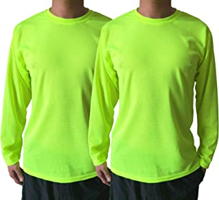 NY GOLDEN FASHION Men's High Visibility Construction Safety Work Long Sleeve Shirt Breathable T Shirt UPF 50+