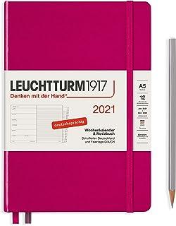 $39 » LEUCHTTURM1917 361817 Weekly Calendar + Notebook 2021 Hardcover Medium (A5), 12 Months, Berry, German