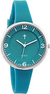 Belief Unisex | Silver-Tone and Turquoise Resin Easy Reader Watch with Cross | BF9659TL