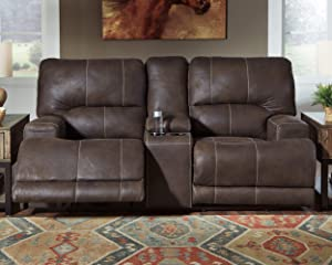 Kitching Faux Leather Power Reclining Loveseat with Storage Console