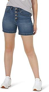 سروال قصير من الدنيم قصير بخصر مرتفع وزر مناسب لأسطوري للنساء من Lee
