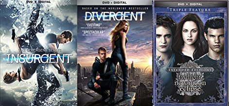 The Twilight Saga: Extended Edition Triple Feature New Moon / Eclipse DVD + Divergent Series Movie + Insurgent - 5 Disc collection