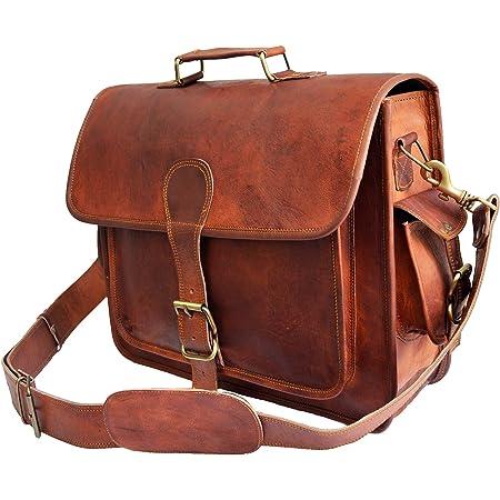 JAALD 40 cm echt Leder Laptoptasche Umhängetasche Schultertasche Kuriertasche FahrradTasche Schultasche Wasserdicht Vintage Herren Damen Geschenk XL Leather Messenger Bag