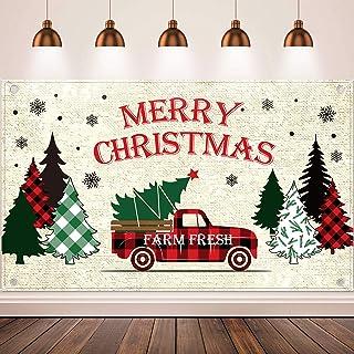 Merry Christmas Red Buffalo Plaid Truck Banner Backdrop Xmas Tree Farm Fresh Background Retro Christmas Photo Backdrop for...