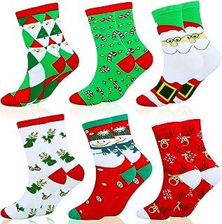 HOWAF, HOWAF 6 Pares Algodón Calcetines de Navidad para Adultos Niños, Calcetines Cálidos de Navidad para Hombres Mujeres Niñas Niños, Unisex Calcetines Ideas para Saco de Navidad