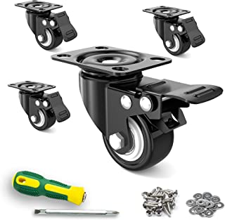 """Sponsored Ad - 2"""" Caster Wheels,Set of 4,Heavy Duty Swivel Casters with Brake, Safety Dual Locking and No Noise Polyuretha..."""