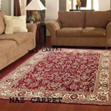 Naz Carpet Kashmiri Traditional Woolen Carpet with Advanced 1 Inch Thickness & Classical Look 150x200cm (5x7 Feet) Color Maroon