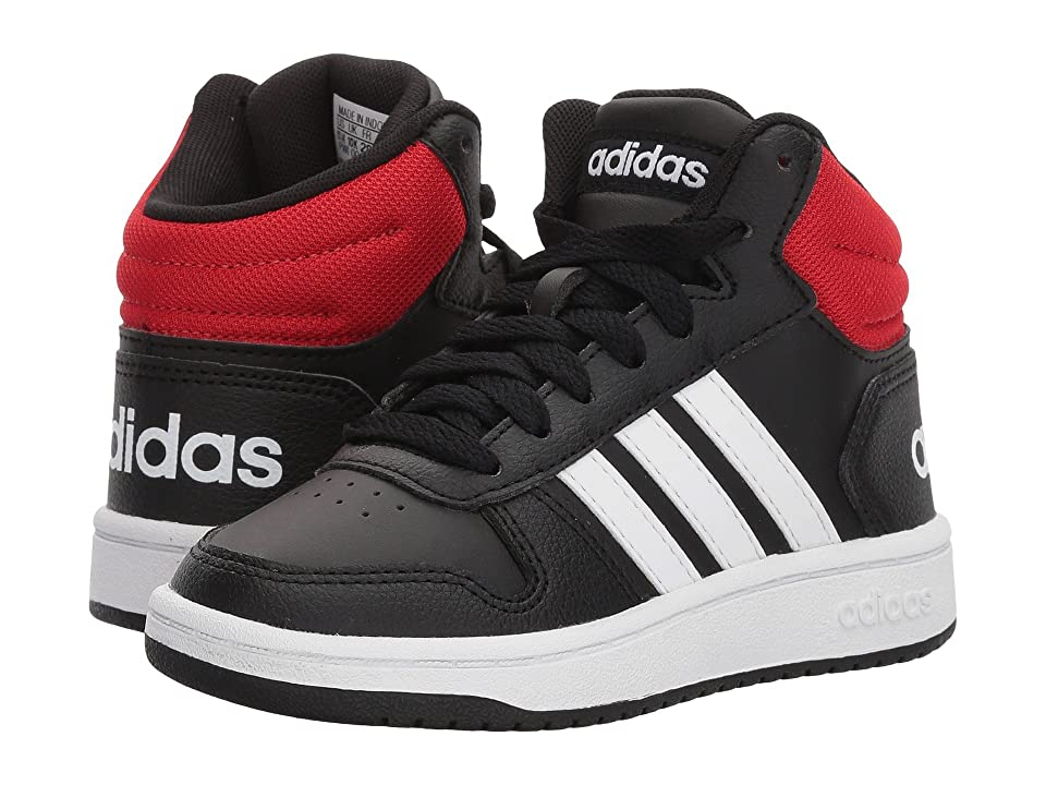 adidas Kids Hoops Mid 2 (Little Kid/Big Kid) (Black/White/Bright Blue) Kids Shoes