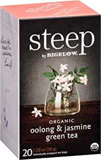 Steep by Bigelow Organic Oolong and Jasmine Green Tea 20 Count (Pack of 6) Caffeinated Individual Green and Black Tea Bags, for Hot Tea or Iced Tea, Drink Plain or Sweetened with Honey or Sugar