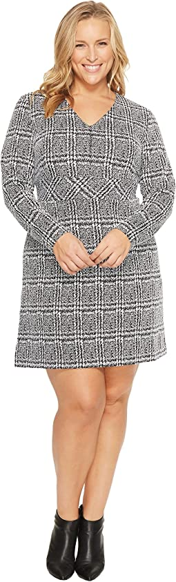 Plus Size Plaid Jacquard Fit and Flare Dress