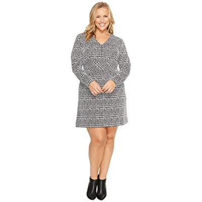MICHAEL Michael Kors Plus Size Plaid Jacquard Fit and Flare Dress (Black) Women