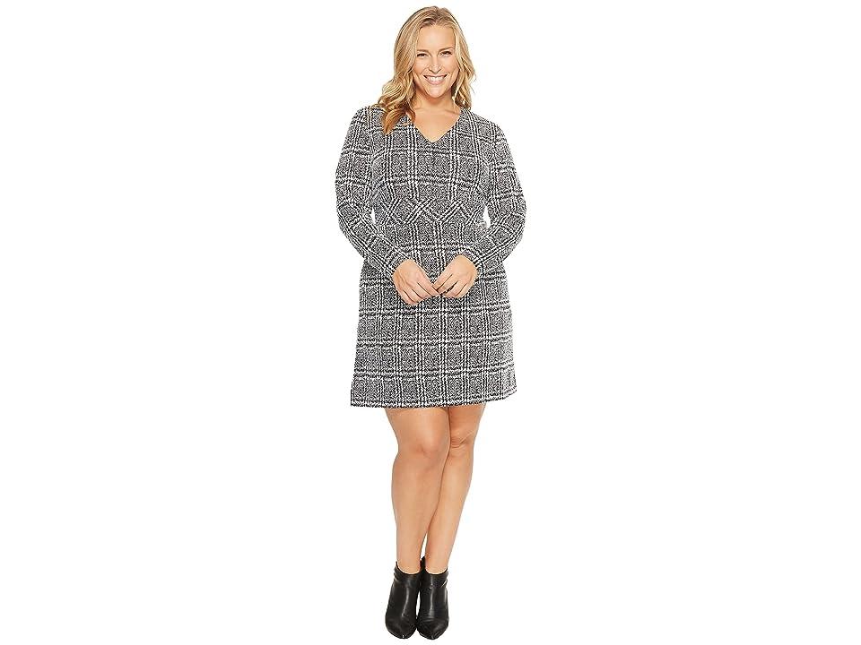 MICHAEL Michael Kors Plus Size Plaid Jacquard Fit and Flare Dress (Black) Women