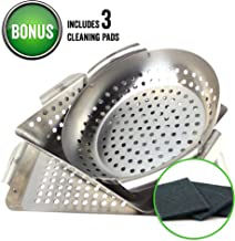 Yukon Glory 3-Piece Mini BBQ grill accessories Basket Set, for Grilling Vegetables, Chicken Pieces, Fish, Includes Bonus Scrubbing Pads