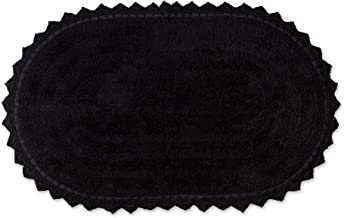 DII Crochet Collection Bath Mat, Large Oval, 21x34, Black