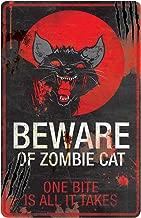 One Holiday Way Rustic Vintage Metal Beware Zombie Animal Halloween Sign - Hanging Halloween Decoration (Cat)
